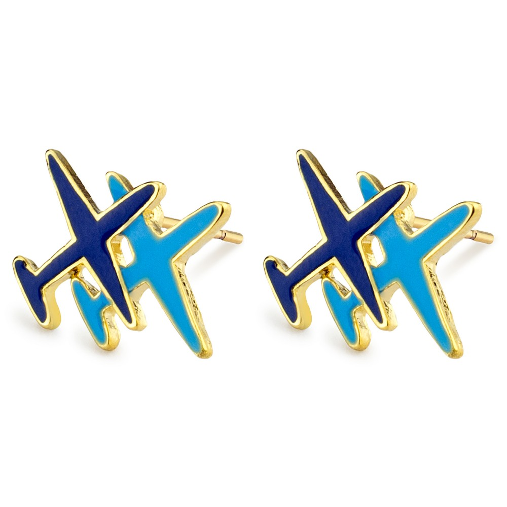 Stud Earring Aeroplane Made With Enamel & Tin Alloy by JOE COOL