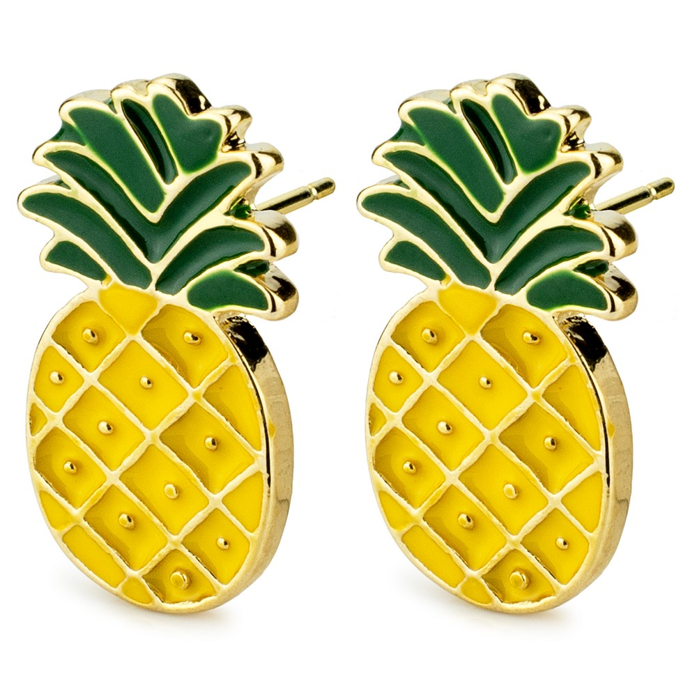 Stud Earring Pineapple Made With Enamel & Tin Alloy by JOE COOL