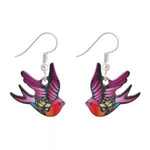 Drop Earring Bird Made With Enamel & Tin Alloy by JOE COOL