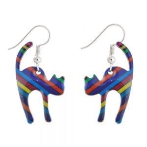 Drop Earring Stressed Out Cat Made With Tin Alloy by JOE COOL
