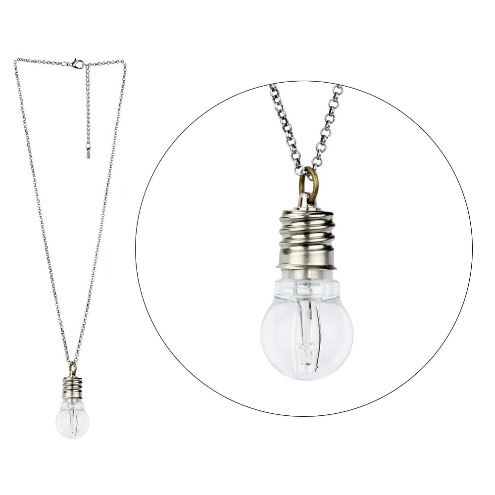 Necklace Light Bulb With Led Made With Iron by JOE COOL