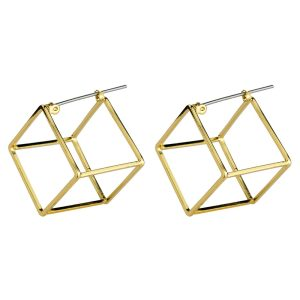 Stud Earring Cube Made With Tin Alloy by JOE COOL