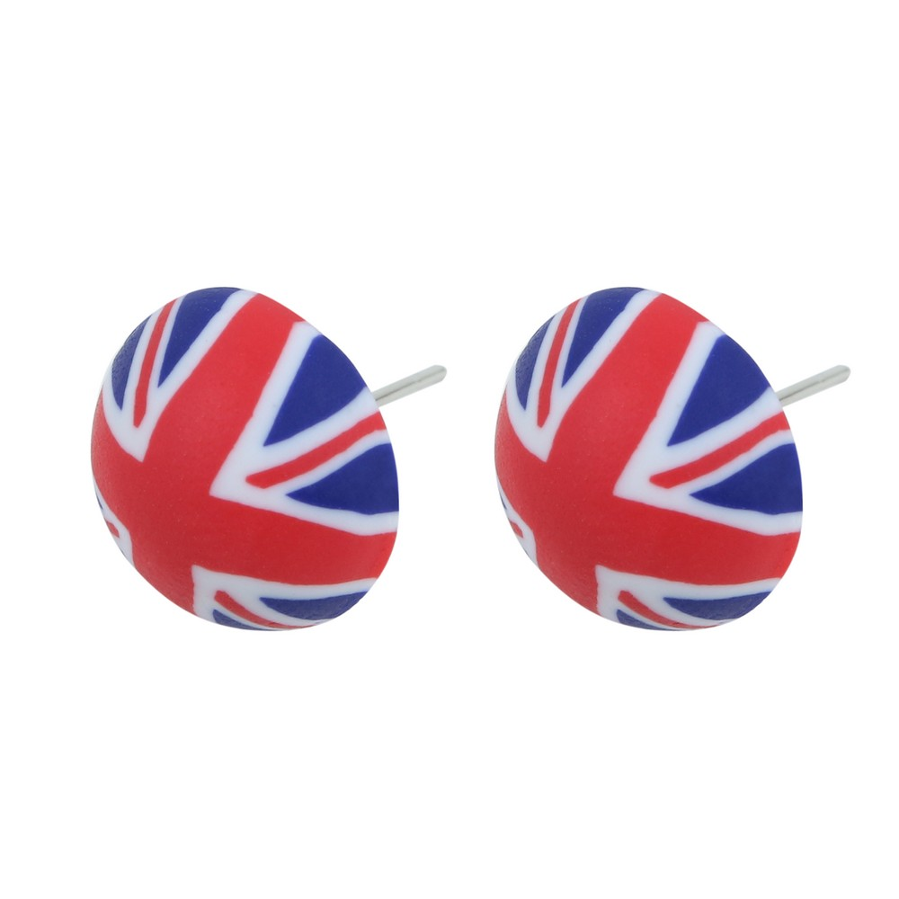 Stud Earring Union Jack Made With Fimo by JOE COOL
