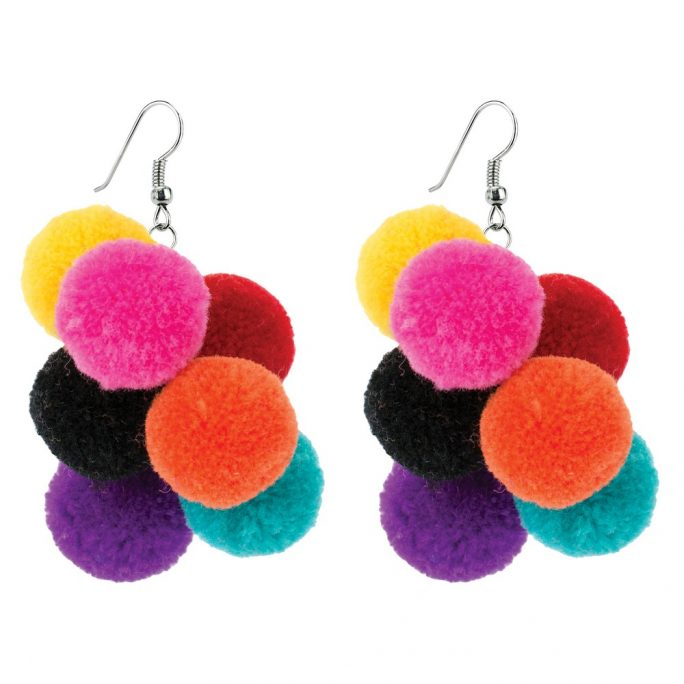 Drop Earring Pompom Bunch Made With Cotton by JOE COOL