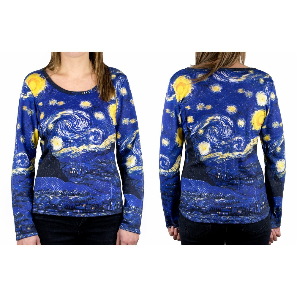 Clothes Starry Night Van Gogh Long Sleeve T-shirt Ex Large by JOE COOL
