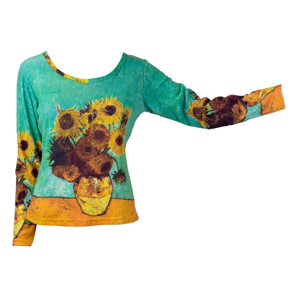 Clothes Sunflowers Van Gogh Long Sleeve T-shirt Ex Large by JOE COOL