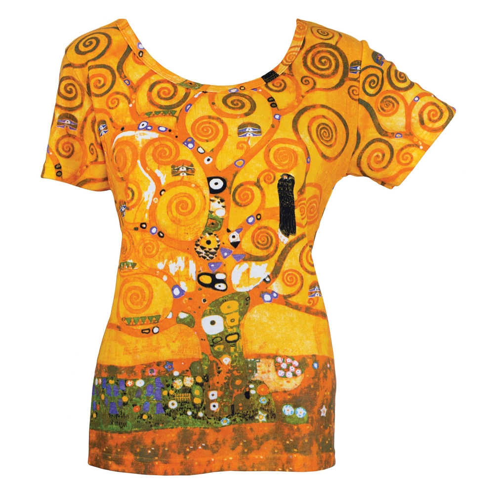 Clothes Tree Of Life Klimt Short Sleeve Large by JOE COOL