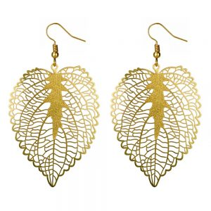 Drop Earring Etched Leaf Matte Made With Copper & Tin Plate by JOE COOL