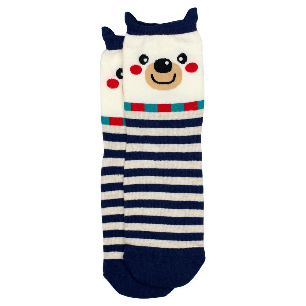 Socks Stripey Polar Bear Made With Cotton & Spandex by JOE COOL