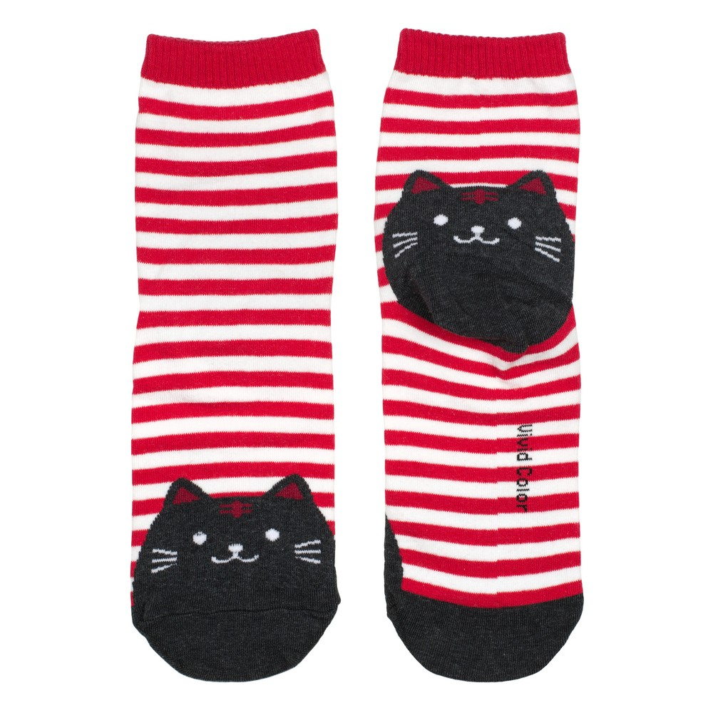 Socks Stripey Cat Toes Made With Cotton & Spandex by JOE COOL