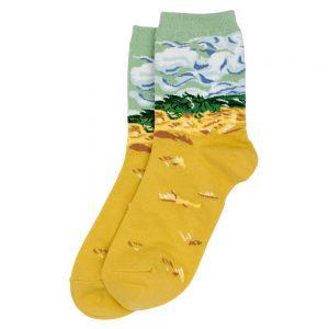 Socks Van Gogh Wheat Fields Made With Cotton & Spandex by JOE COOL
