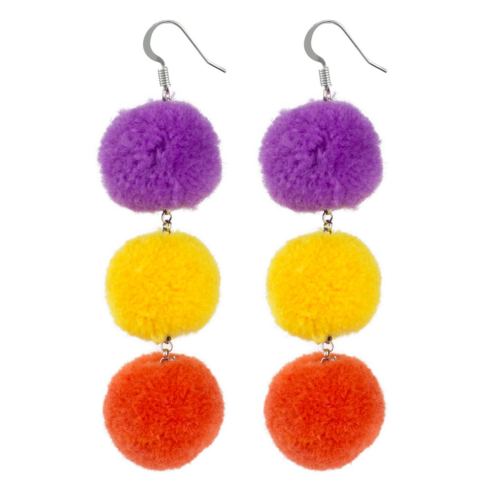 Drop Earring Triple Pompom Made With Cotton by JOE COOL