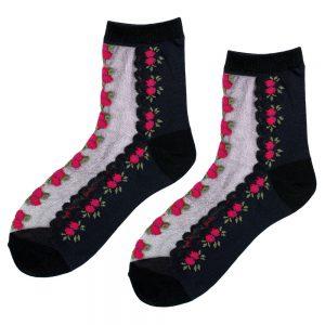 Socks Sheer Dainty Trailing Rose Made With Nylon & Spandex by JOE COOL