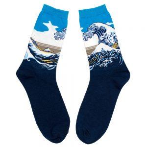 Socks Hokusai The Great Wave Of Kanagawa Gents Made With Cotton & Nylon by JOE COOL