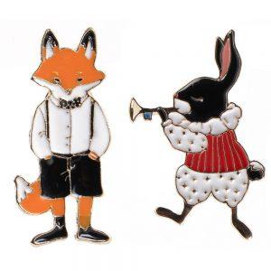 Brooch Freddy Fox & Fanfare Rabbit Made With Tin Alloy by JOE COOL