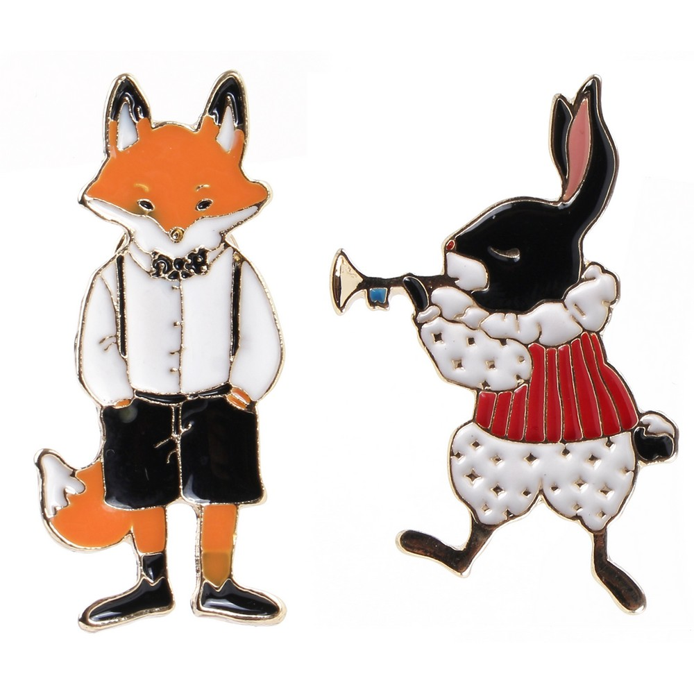 Brooch Freddy Fox & Fanfare Rabbit Made With Tin Alloy by JOE COOL