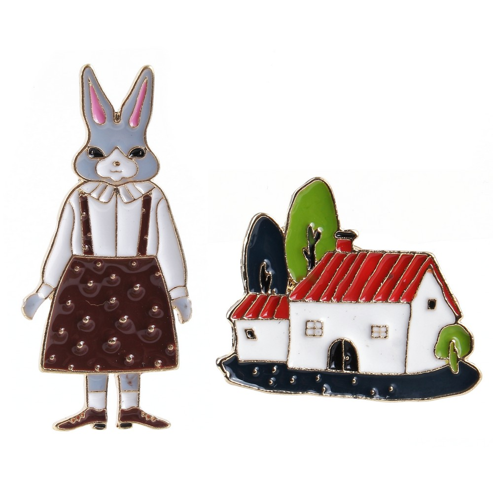 Brooch Happy House & Rebecca Rabbit Made With Tin Alloy by JOE COOL
