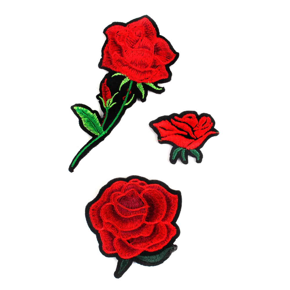 Patch Iron On Rose Set Of 3 Made With Cotton by JOE COOL