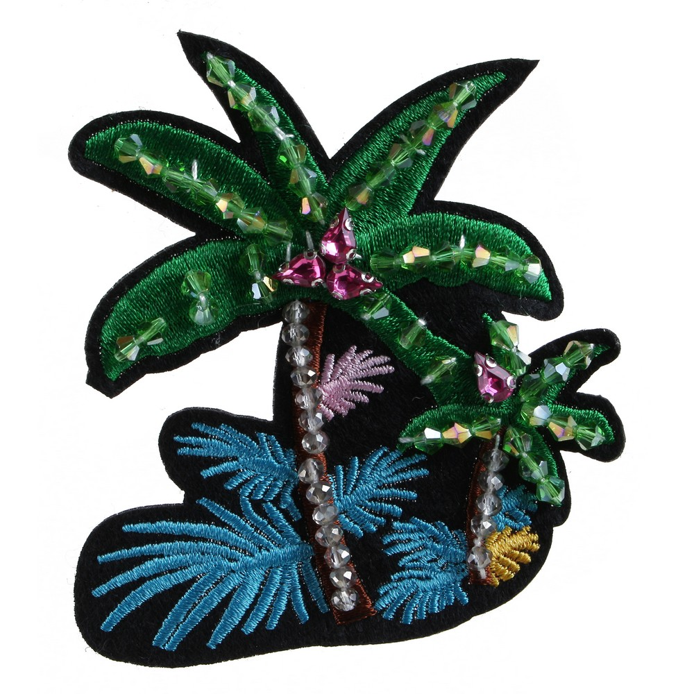 Brooch Embroidered Palm Tree Made With Cotton by JOE COOL