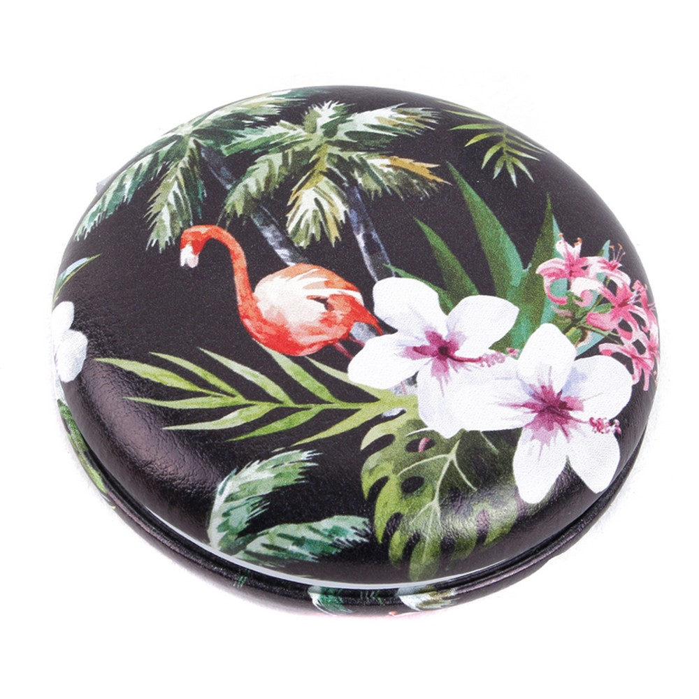 Compact Mirror Macaron Style Flamingo Parade Made With Pu & Glass by JOE COOL