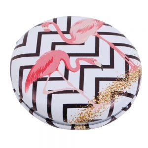 Compact Mirror Macaron Style Flamingo Parade Made With Pu & Glass by JOE COOL