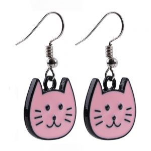 Drop Earring Cartoon Cat Made With Tin Alloy & Iron by JOE COOL