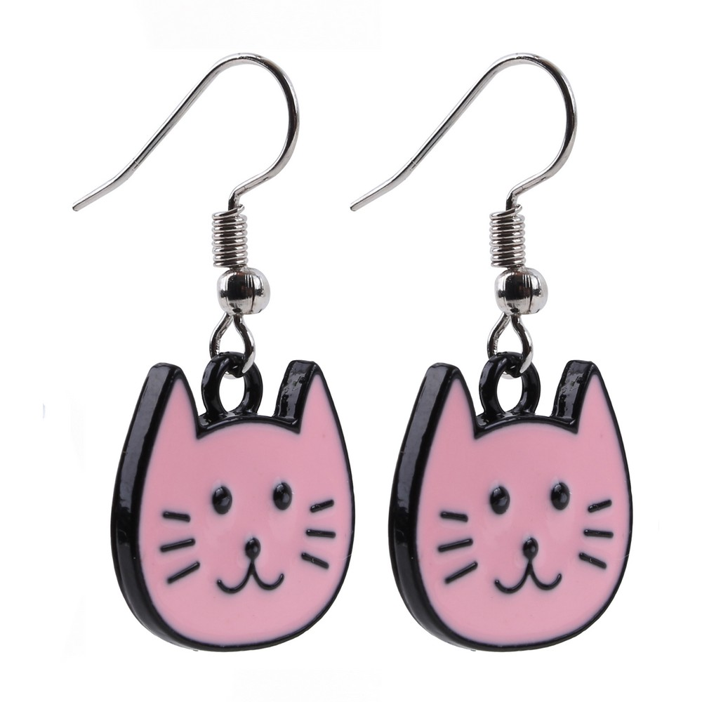 Drop Earring Cartoon Cat Made With Tin Alloy & Iron by JOE COOL