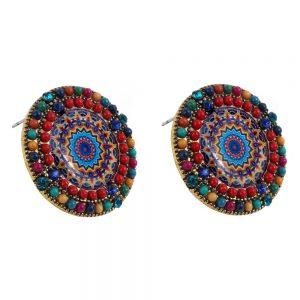 Stud Earring Tijuana Bead Made With Acrylic & Tin Alloy by JOE COOL