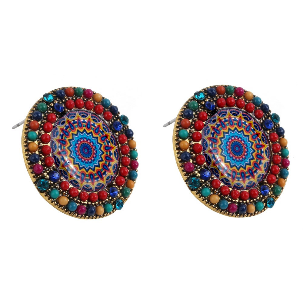 Stud Earring Tijuana Bead Made With Acrylic & Tin Alloy by JOE COOL