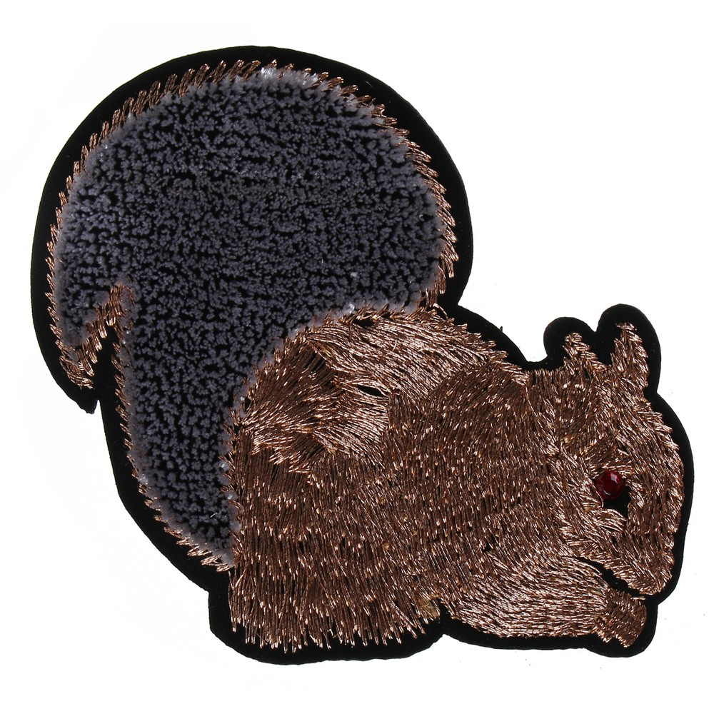 Brooch Embroide Squirrel Made With Cotton by JOE COOL