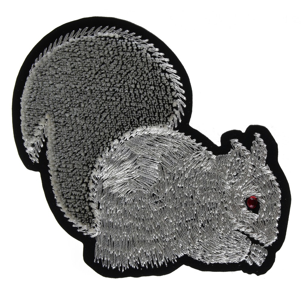 Brooch Embroidered Squirrel Made With Cotton by JOE COOL