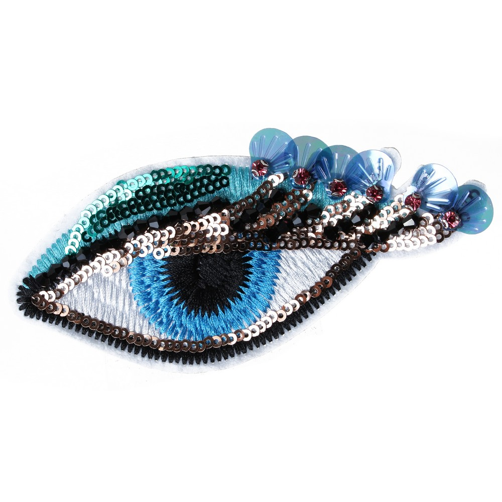 Brooch Embroidered Sequin Eye Made With Cotton by JOE COOL