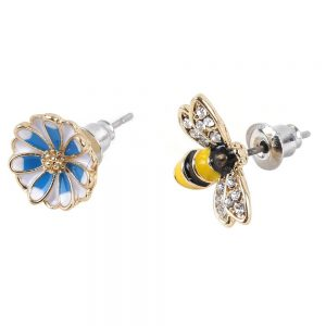 Stud Earring Bee Flower Perfect Pair Made With Tin Alloy by JOE COOL