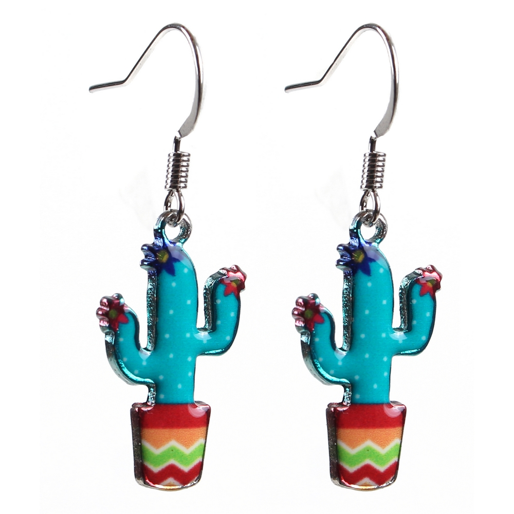 Drop Earring Cactus Made With Acrylic & Iron by JOE COOL
