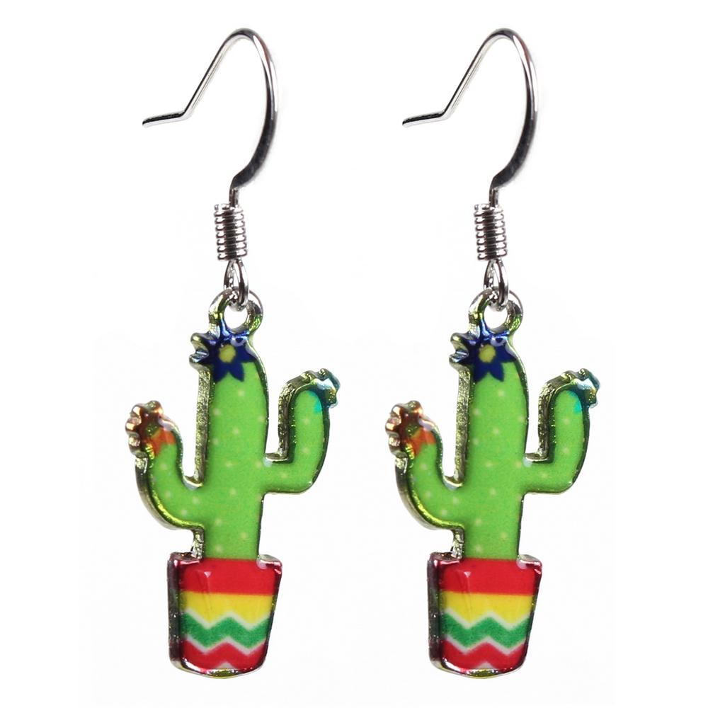 Drop Earring Cactus Made With Acrylic & Iron by JOE COOL