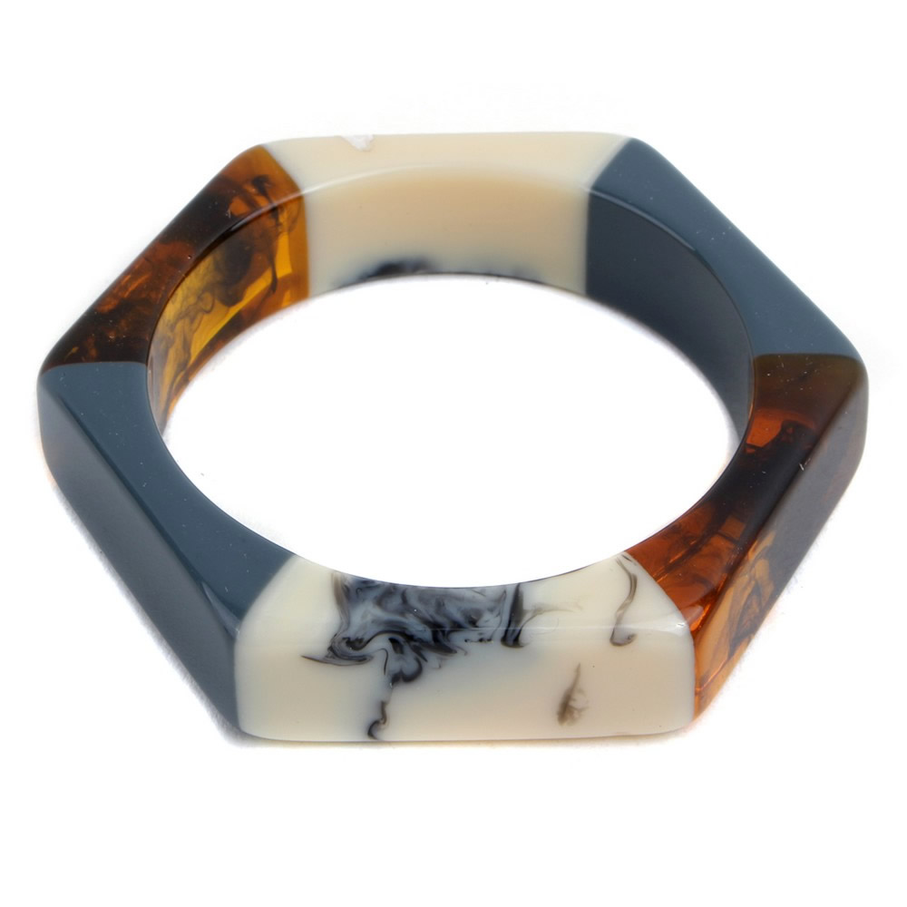 Bangle Marble & Pastel Soft Hex Made With Resin by JOE COOL