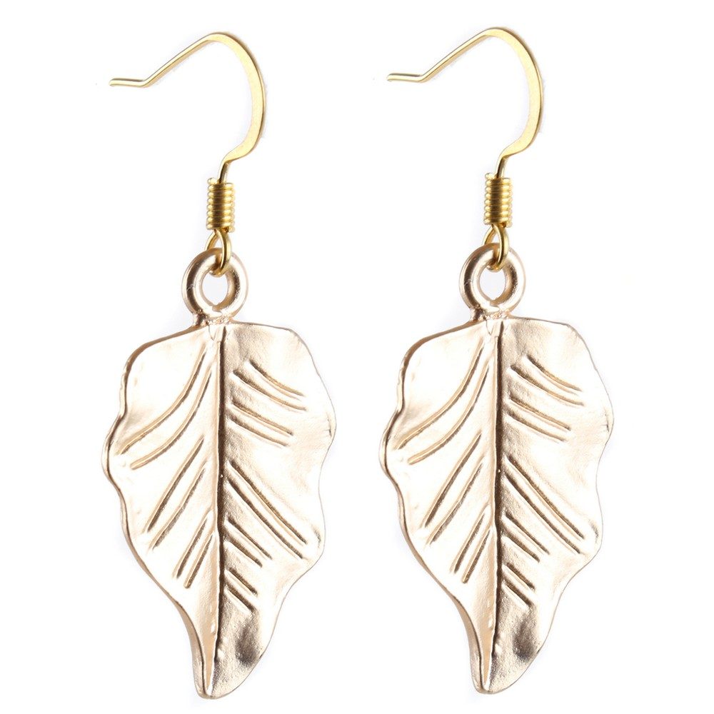 Drop Earring Grecian Little Leaf Made With Tin Alloy & Iron by JOE COOL