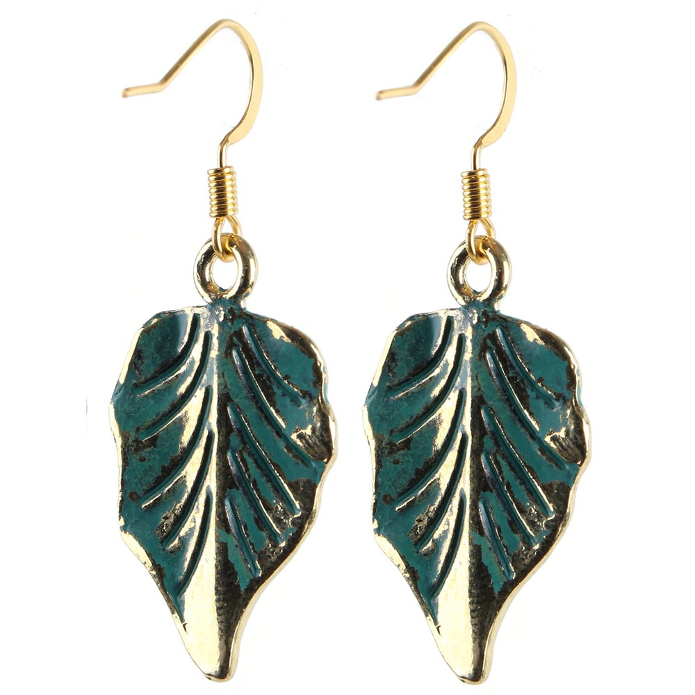 Drop Earring Grecian Patina Little Leaf Made With Tin Alloy & Iron by JOE COOL