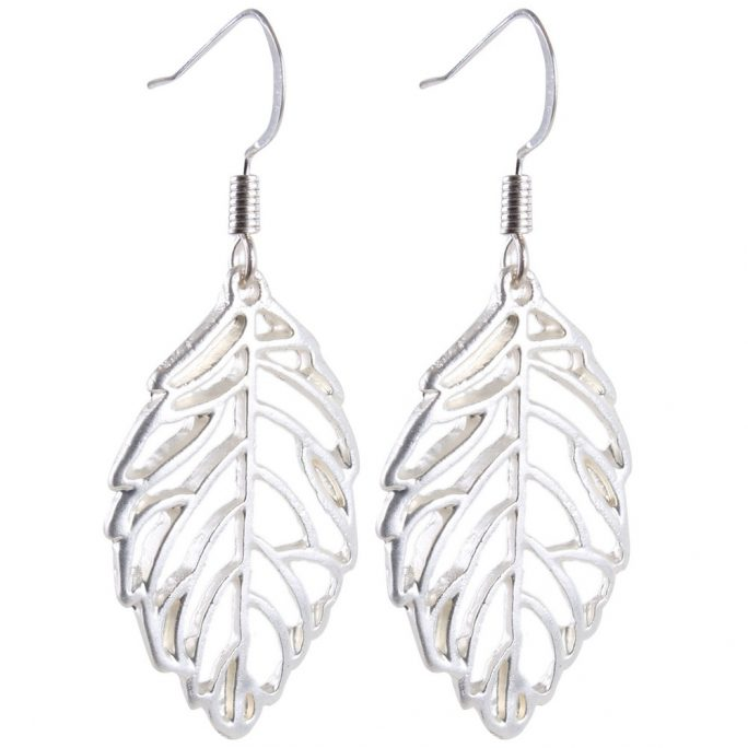 Drop Earring Grecian Little Cutout Leaf Made With Tin Alloy & Iron by JOE COOL