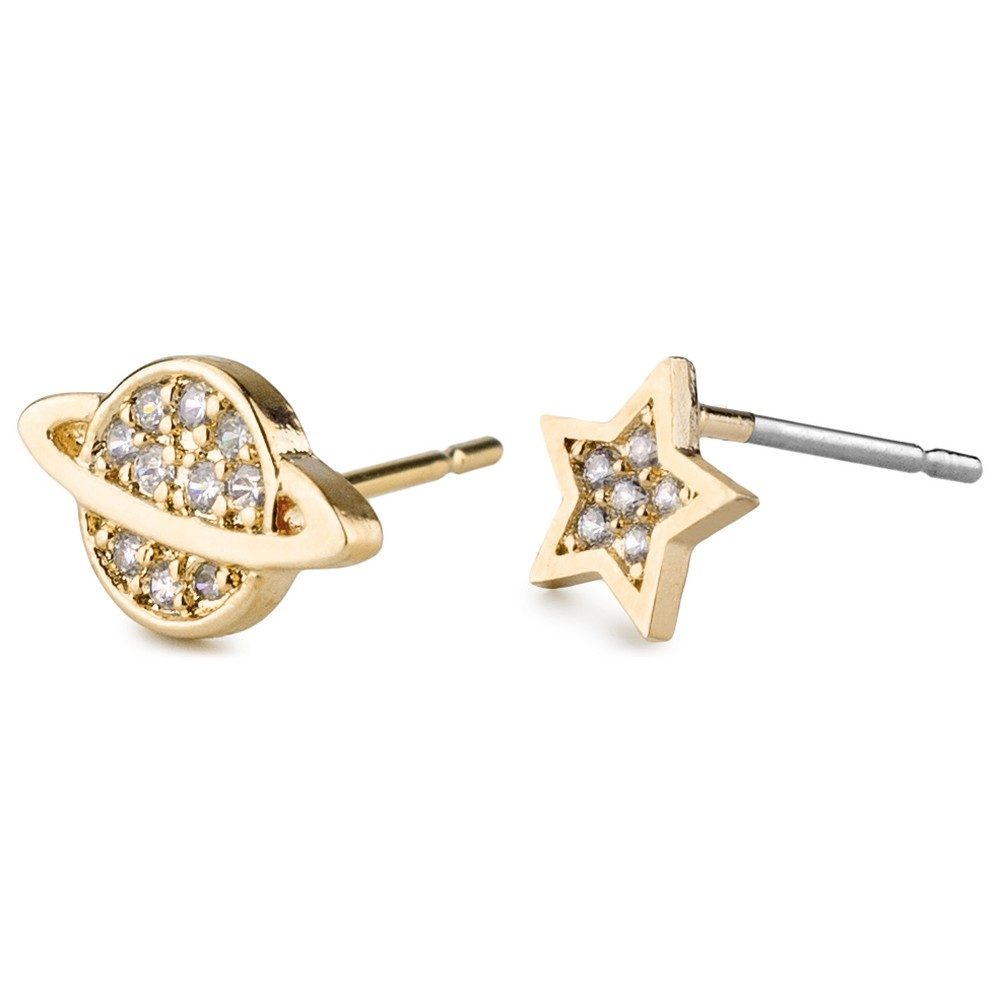 Stud Earring Saturn & Star Made With Crystal Glass & Tin Alloy by JOE COOL