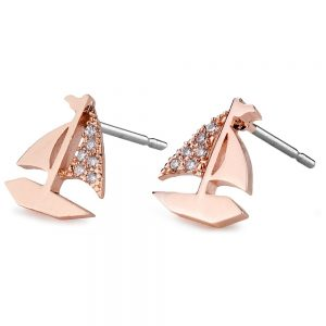 Stud Earring Sailboat Made With Crystal Glass & Tin Alloy by JOE COOL