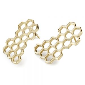 Stud Earring Honeycomb Made With Tin Alloy by JOE COOL