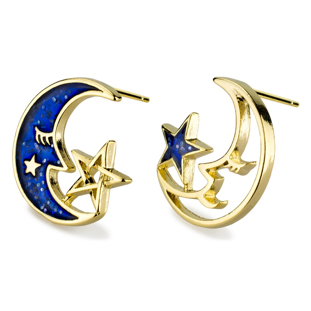 Stud Earring Moon & Star Made With Tin Alloy by JOE COOL