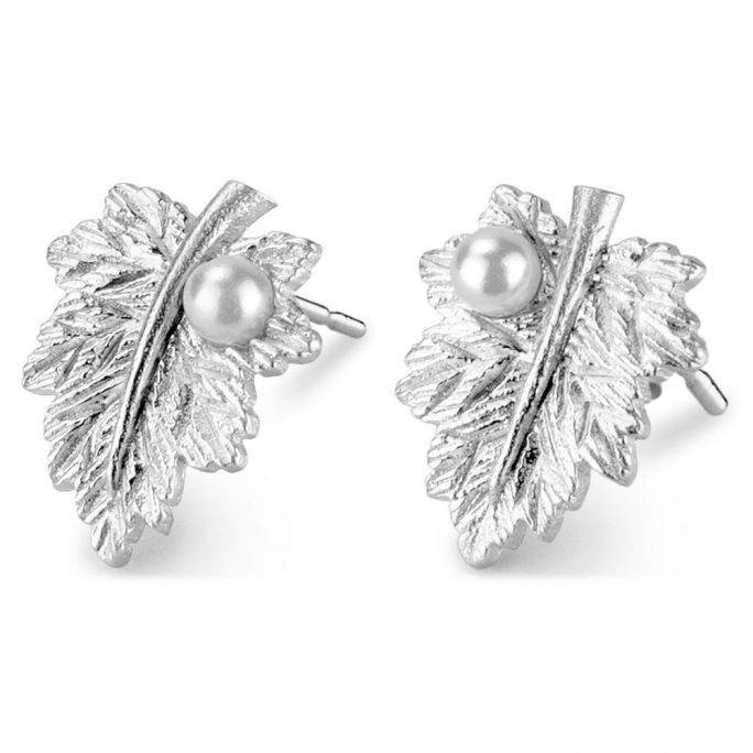 Stud Earring Leaf With Pearl Drop Made With Tin Alloy by JOE COOL