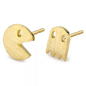Stud Earring Retro Arcade Pacman & Ghost Made With Tin Alloy by JOE COOL