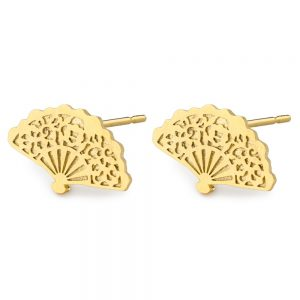 Stud Earring Dainty Fan Made With Tin Alloy by JOE COOL