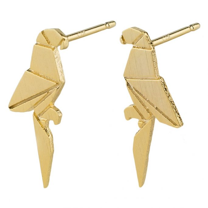 Stud Earring Matte Origami Parrot Made With Tin Alloy by JOE COOL