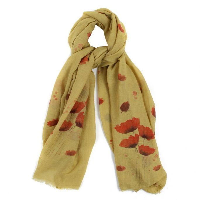 Scarf Chartreuse Poppy Garden Made With Polyester by JOE COOL