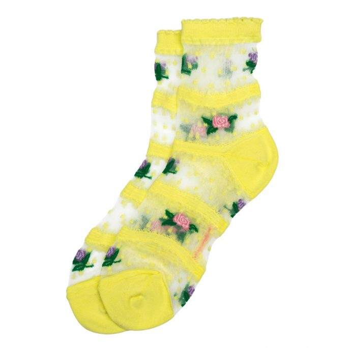 Socks Sheer Rose Lace Made With Cotton & Spandex by JOE COOL