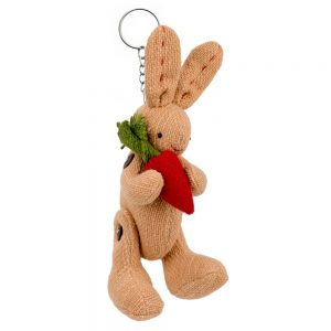 Keyring Moveable Rabbit With Carrot Made With Cotton by JOE COOL